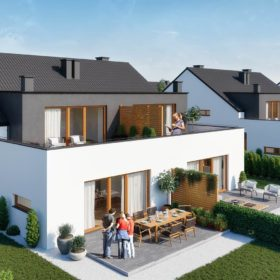 apartamentowiec – widok z góry na cztery mieszkania od strony ogrodów i tarasów